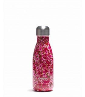 Bouteille isotherme en inox Qwetch motif fleurs rose 260 ml