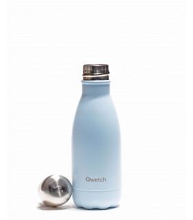 Bouteille isotherme en inox Qwetch pastel bleu 260 ml ouverte