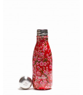 gourde isotherme en inox Qwetch fleurs rouge 260 ml