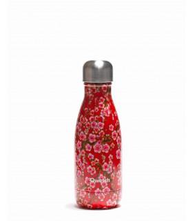 Bouteille isotherme en inox Qwetch motif fleurs rouge 260 ml