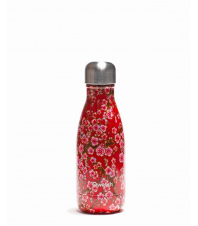 Red flower Qwetch reusable water bottle 260 ml