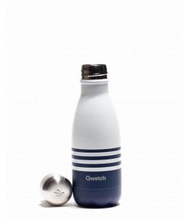 260 ml white and dark blue Qwetch reusable water bottle