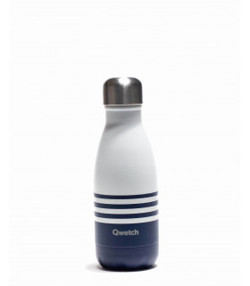 Small white and dark blue Qwetch reusable water bottle