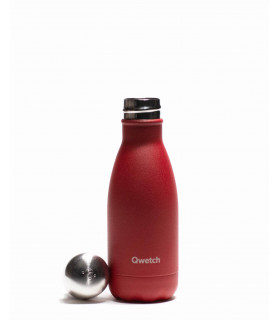 small red Qwetch reusable water bottle