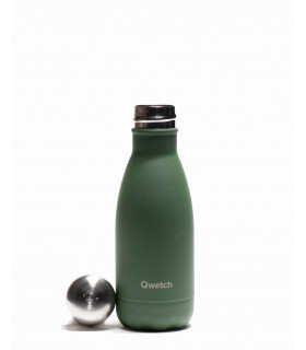 small green Qwetch reusable water bottle