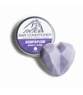 Après-shampoing solide Chanvre et Prune pour cheveux normaux, secs ou endommagés
