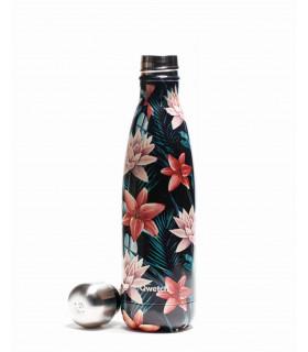 Reusable metal bottle tropical flowers 500 ml Qwetch