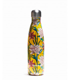 Reusable metal bottle tropical yellow flowers 500 ml Qwetch