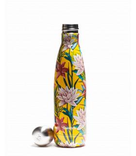 Reusable metal bottle tropical yellow flowers 500 ml