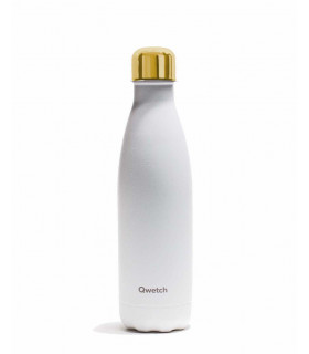 Reusable water bottle 500 ml white and gold Qwetch