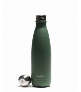 Stainless steel reusable water bottle 500 ml khaki Qwetch