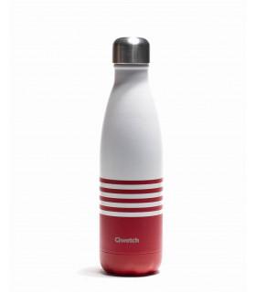 Bouteille isotherme Qwetch marinière rouge 500 ml en inox