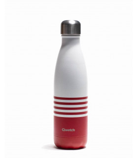 Reusable water bottle 500 ml red striped Qwetch