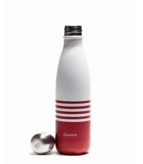 Stainless steel reusable water bottle 500 ml red striped Qwetch