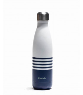 Reusable water bottle 500 ml blue striped Qwetch