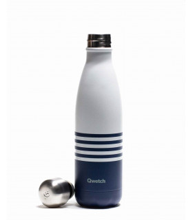 Stainless steel reusable water bottle 500 ml blue striped Qwetch