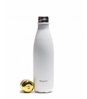 Reusable water bottle 500 ml white and gold