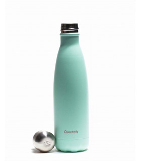 Stainless steel reusable water bottle 500 ml pastel mint Qwetch