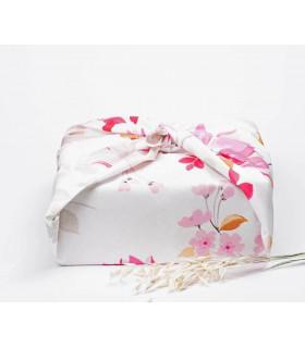 Grand furoshiki, emballage cadeau, fleur rose, Takaterra