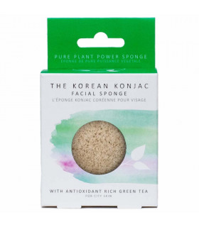 "Green tea konjac natural sponge for ""city"" skin"