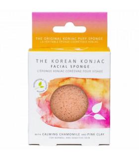 Éponge konjac à la camomille et l'argile rose pour peau sensible et irritée