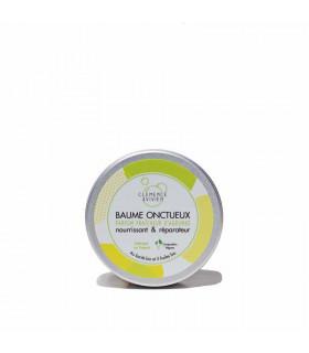 Small closed metal travel box with white Clemence et Vivien citrus fresh balm