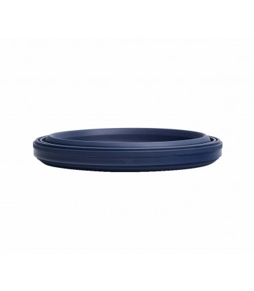 Dark blue, silicone, collapsible lunch box of Stojo