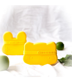 We might be tiny snackie and lunch yellow box for boys and girls, silicone made