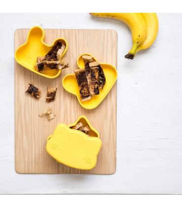 We might be tiny, lunch box pour enfant en silicone en forme de lapin, jaune