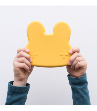 We might be tiny snackie and lunch yellow box for boys and girls made of silicone, BPA free