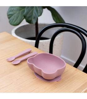 Dusty rose silicone suction bowl with led for babies, We might be tiny