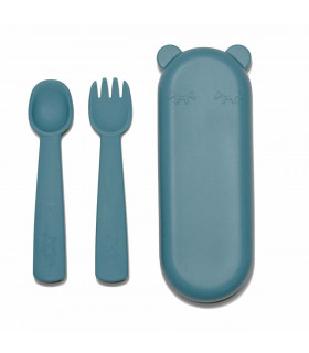Blue, plastic-free, silicone fork and spoon set for babies, We might be tiny