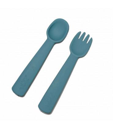 Fourchette et cuillère pour bébé en silicone bleu, We might be tiny