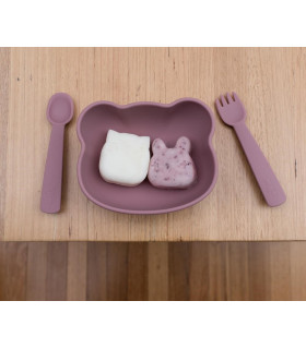 We MIght be Tiny, dusty rose feedie fork and spoon set