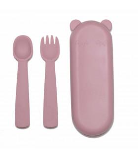 Couverts pour bébé en silicone rose, sans BPA, We might be tiny