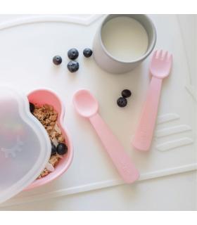 Couverts et Pochette en Silicone pour Bébé - Powder Pink