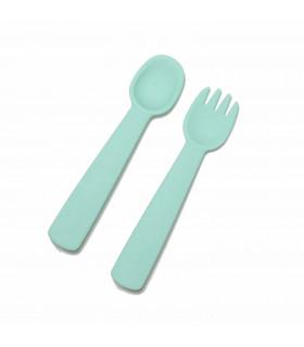 Fourchette et cuillère pour bébé en silicone vert d'eau, We might be tiny