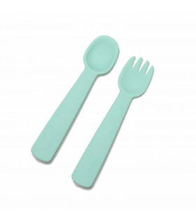 Minty green silicone fork and spoon for a baby, We might be tiny