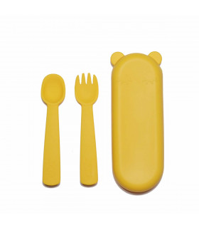 A set of yellow silicone fork and spoon for a baby, We might be tiny