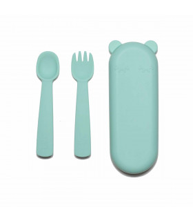 Minty green, plastic-free, silicone fork and spoon set for babies, We might be tiny