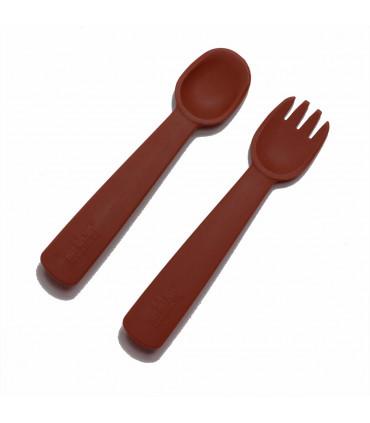 Fourchette et cuillère pour bébé en silicone rouille, We might be tiny