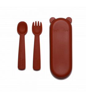 Rust, plastic-free, silicone fork and spoon set for babies, We might be tiny