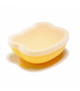 Yellow silicone suction bowl with lid, We might be tiny