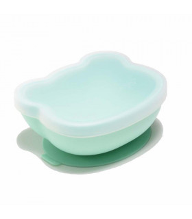 Minty green silicone suction bowl with lid, We might be tiny