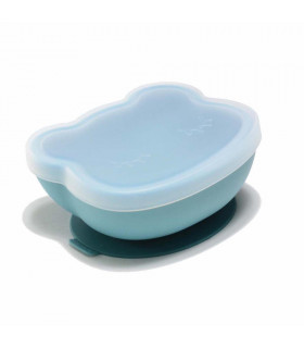 Blue silicone suction bowl with lid, We might be tiny