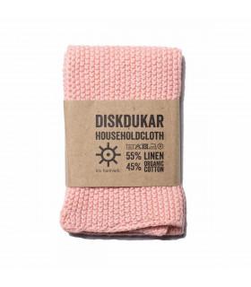 Chiffon naturel en lin et coton rose poudré Iris Hantverk