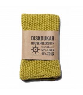 Chiffon naturel en lin et coton vert  Iris Hantverk
