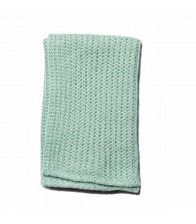 Chiffon naturel en lin et coton vert givré Iris Hantverk
