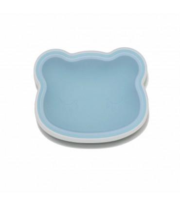 Bol à ventouse bleu pour bébé conçu en silicone alimentaire, We might be tiny