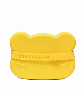 Boite à goûter en forme d'ours, en silicone jaune de We Might Be Tiny